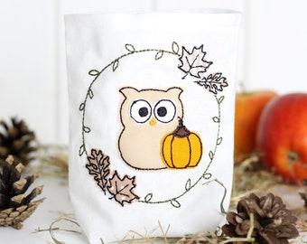 Embroidery file autumn wreath owl 10x10 (4x4) Doodle fringe applique embroidery design