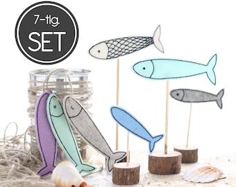 ITH embroidery file fish 10x10 (4x4) set - 7 sardine embroidery patterns - maritime pendant, decoration, decorative plug, garland,