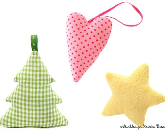 ITH Embroidery File Christmas Hanger 13x18 (5x7) Set - 3 ITH Embroidery Pattern - Fir Tree Star Heart Pendant