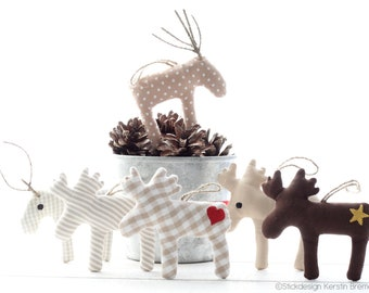 ITH Embroidery File Set Moose 13x18 (5x7) - 6 Moose Embroidery Pattern - Pendant, Pocket Tree, Decoration for Winter, Christmas, Advent
