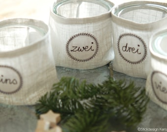 Embroidery file Advent wreath numbers 10x10 (4x4) Set - Doodle application embroidery pattern for the Advent wreath