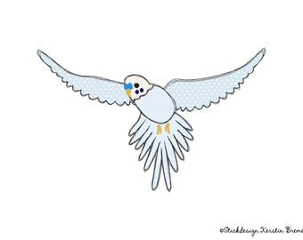 Embroidery file Parakeet 18x30 (7x12) - Flying Parakeet Doodle Applique Embroidery Pattern - Parrot, Bird