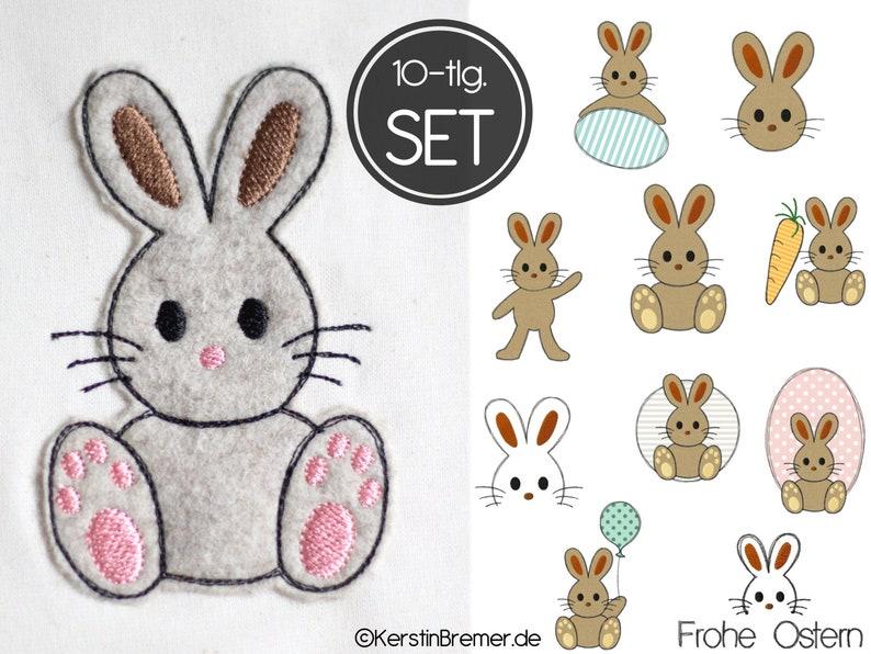 Embroidery file bunny 10x10 4x4 set  10 doodle applique image 0