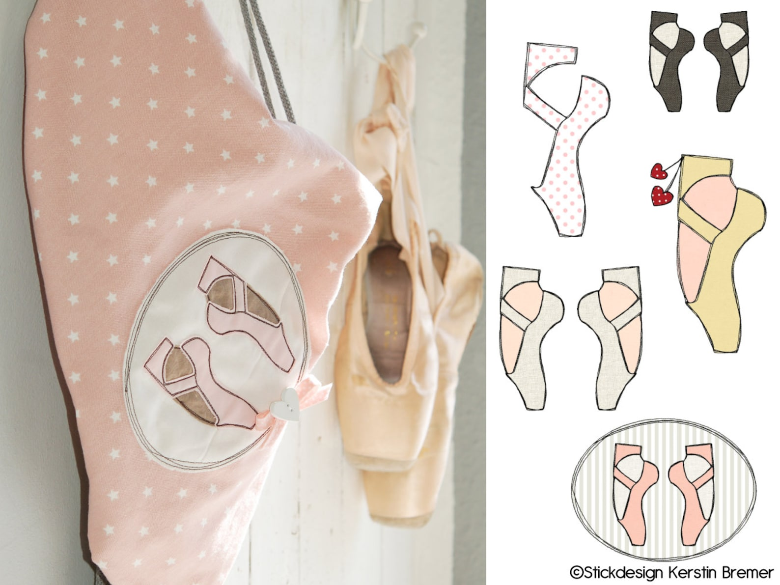 embroidery files set ballet shoes 13x18 doodle application