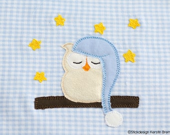 Embroidery File Owl Good Night 10x10 (4x4) Doodle Applique Embroidery Pattern - Sleeping Hats Owl with Stars