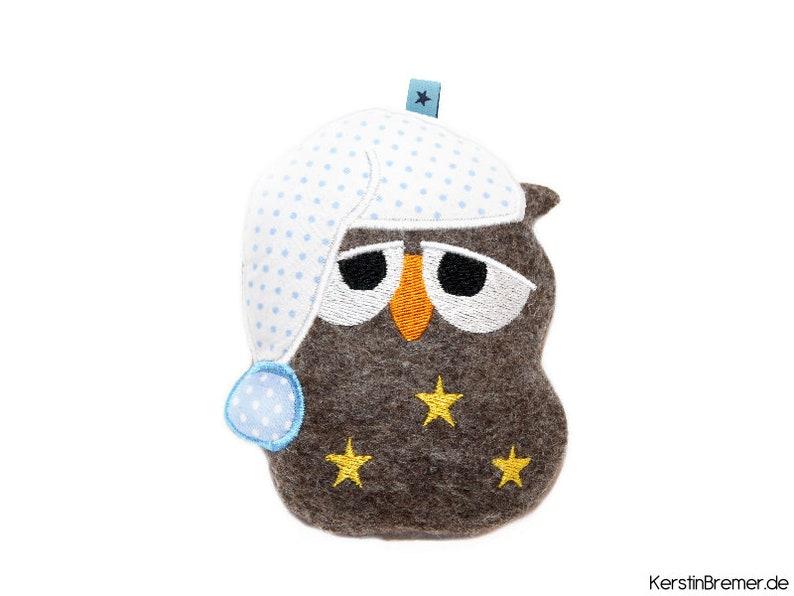 Embroidery file ith owl Ursula 10x10 sleeping cap image 0