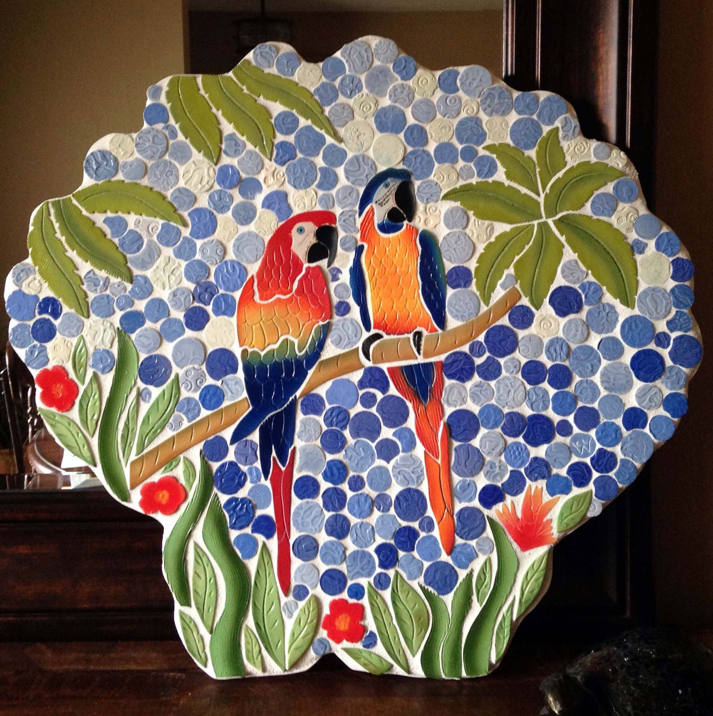Handcut Ceramic Mosaic Tile Parrots With Palm Trees Wall