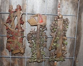 Vintage Burwood Products Faux Wood Wall Hanging Trio - Mailbox, Water Pump and Saw on Fence Post