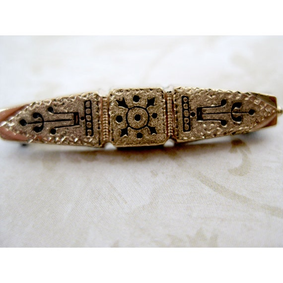 Antique Victorian Taille d'Epargne Pin Vintage Gol