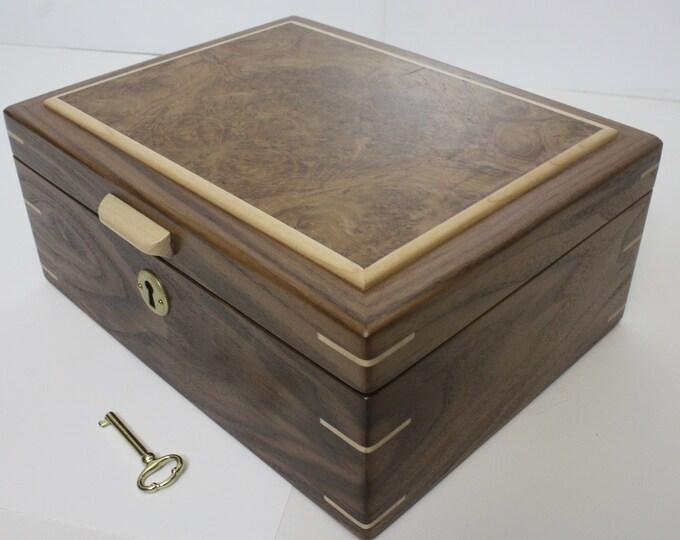 Locking Handmade Black Walnut Wood Box with a Book-Matched Oak Burl Lid. Valet Box, Keepsake Box, Gun Box, Secretary Box, Lift Out Tray