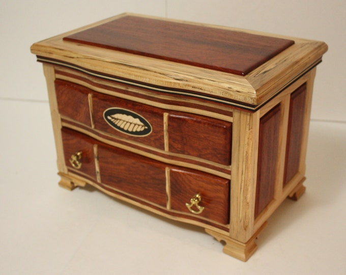 Decorative Handmade Solid Padauk and Spalted Maple Keepsake Box with Large Bottom Drawer with Adjustable, Removable Dividers & Top Storage