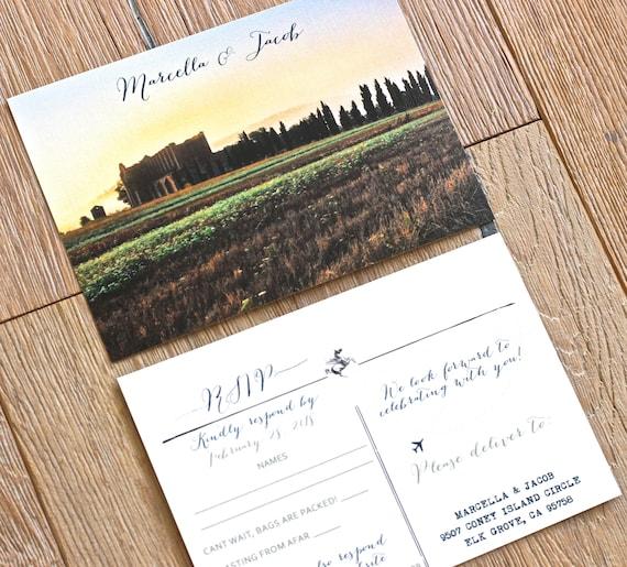 italy post card rsvp 2 sided destination wedding invitation etsy