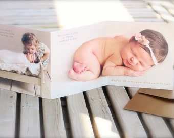 Baby Birth announcement card. Newborn. Trifold or Accordion card. Design fee