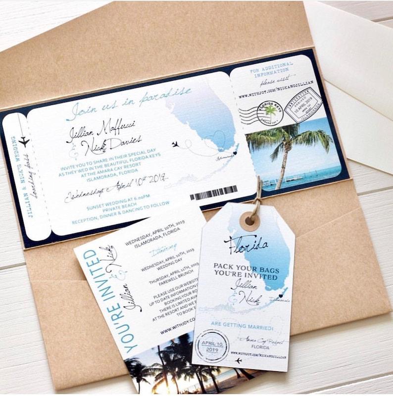 Boarding Pass Wedding Invitations.Florida Boarding Pass Wedding Invitation Design Fee Florida Map Boarding Pass Sets Destination Wedding Florida Keys Beach Wedding