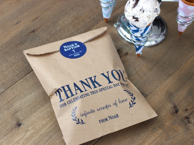 a66cf784f4c9 Thank You Favor Bags. Ice Cream Theme Wax Lined Wedding favor