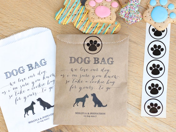 10 PAK Doggie Treat Favor Gift Bags  5x7  Wedding  My Humans Got Married  Pet Customizable Personalized  Cookie Candy