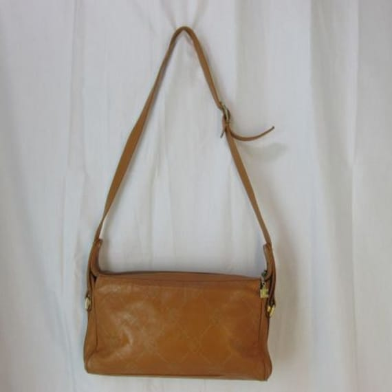 Vintage Ted Lapidus Brown Logo Leather Purse 80's