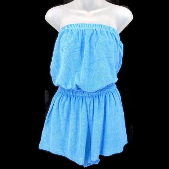 Granada Blue Vintage Terry Cloth Romper M Straples