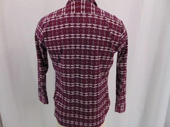 JP Austin Shirtmaker Maroon Button Shirt L 70's A… - image 7