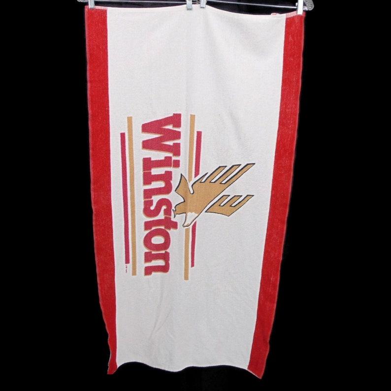 Winston Vintage Red White Beach Towel Logo Southern Terry Inc Made USA Cotton