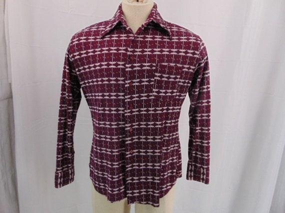 JP Austin Shirtmaker Maroon Button Shirt L 70's A… - image 3