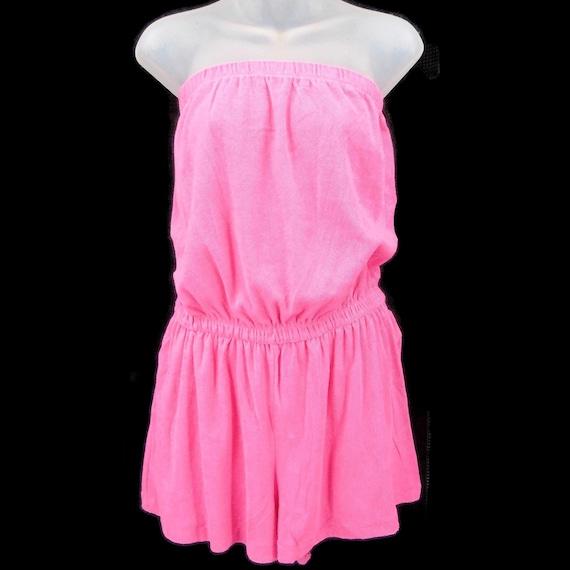 Granada Pink Vintage Terry Cloth Romper M Straples
