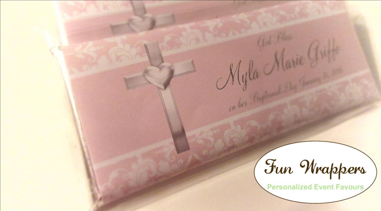 Damask Baptism Candy Wrapper Baptism Chocolate Wrapper | Etsy