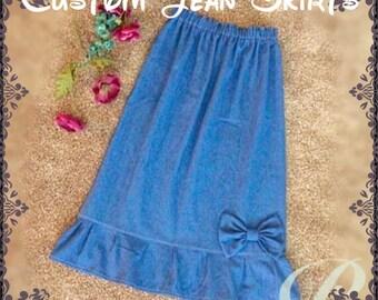 Girls Denim Skirt Etsy