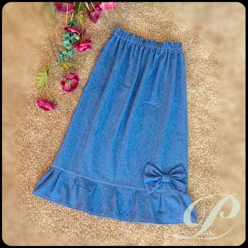MODEST DENIM SKIRTS Denim Skirts For Girls Long Jean Skirt image 1
