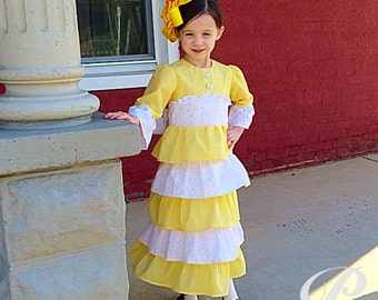GIRLS YELLOW GINGHAM Dress Yellow Easter Dress four weeks processing plaid easter dress modest apostolic clothing brother sister set