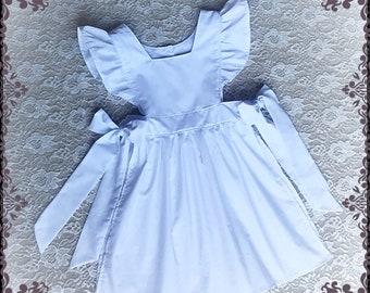 WHITE PINAFORE APRON Alice In Wonderland Costume Girls Pinafore Dress Up Party Alice Apron Halloween Costume Dress photo dress