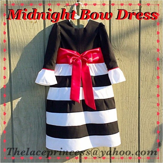 Black Striped Outfit Girls Black And White Dress Flower Girl Etsy