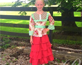 GIRLS MODEST DRESS girls valentine dress four weeks processing long modest dress red dress burgundy ruffle dress maroon dress flower girl