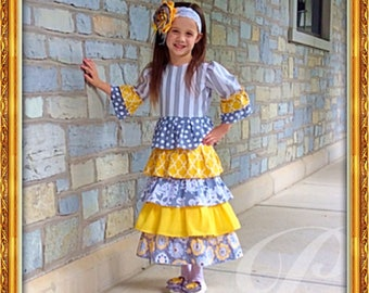 YELLOW GIRLS DRESS Modest Dress Grey and Yellow Sibling Matching Outfit Long Skirt