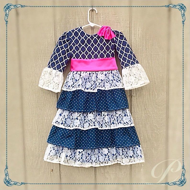 3c0ea406189c LACE RUFFLE DRESS girls modest dress apostolic clothing navy | Etsy