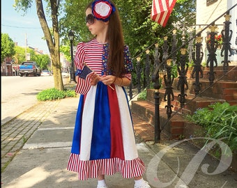 RED PATRIOTIC DRESS red white blue outfit girls modest dress 4th of July dress summer parade dress