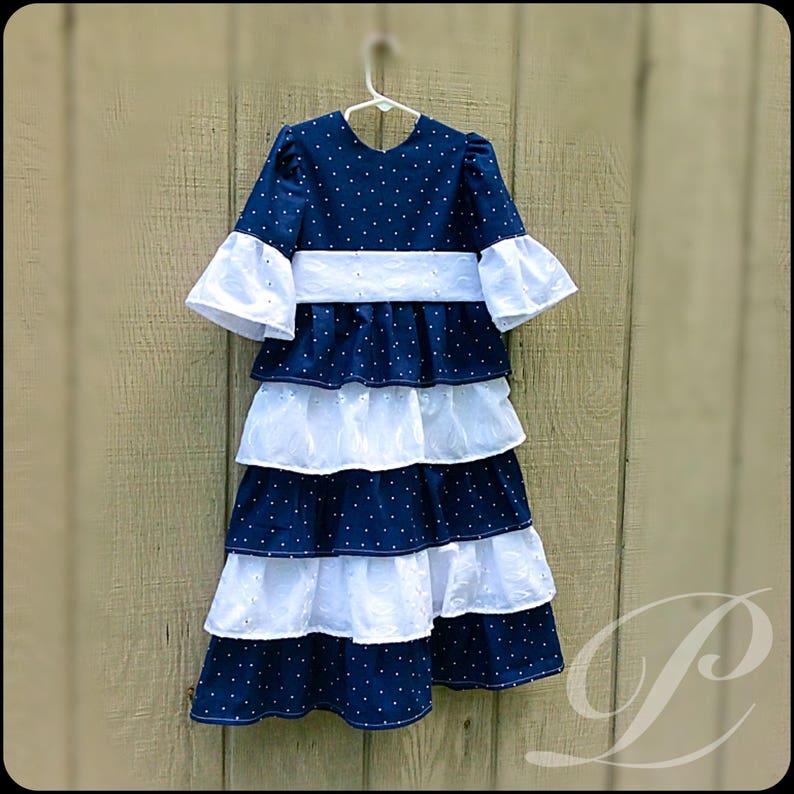 NAVY EYELET LACE dress girls ruffle dress modest easter dress polka dot dress apostolic clothing toddler boutique dresses