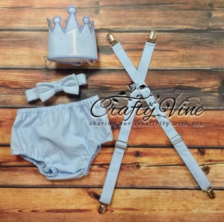 Boys cake smash outfit white and light blue