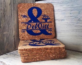 Mr & Mrs cork coaster set of 6, Personalized Coasters, Unique Wedding Gift, Wedding Shower, Housewarming gift, New Couple