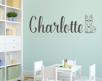 Fox Wall Decal | Fox Nursery Name Wall Decal | Fox Decals | Woodland Nursery Decor