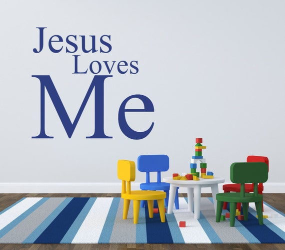 bible verse wall sticker jesus loves me wall decal   etsy