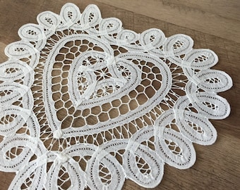 """12"""" Inch Heart Battenburg Lace Cotton White Doily Wedding Craft Supplies Doilies Set of 12 FREE SHIPPING"""