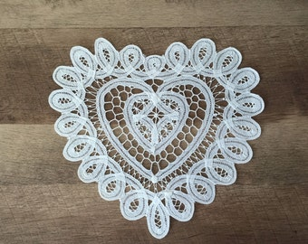 """10"""" Inch Heart Battenburg Lace Cotton White Doily Wedding Craft Supplies Doilies Set of 12 FREE SHIPPING"""