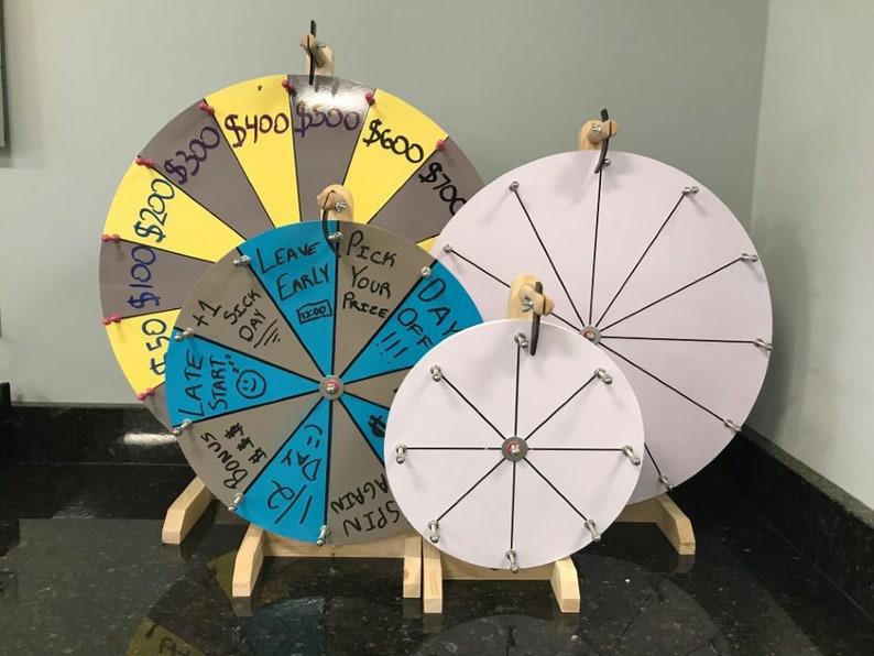 Woodwell White 24-Inch Spin to Win Casino Prize Wheel with 15 Editable  Prize Slots Durable Wooden Tabletop Designed