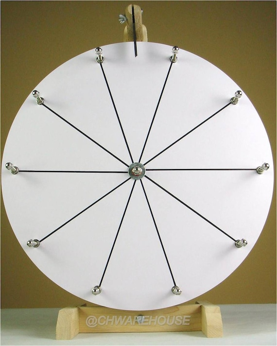 Woodwell 16 Inch White Tabletop Raffle Spinning Prize Wheel Game with 10  Slots Dry Erase Durably Strong Wood Design DIY Editable
