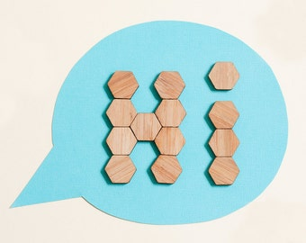 Bamboo Hexagon Fridge Magnets - set of 20