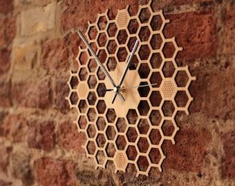 Silent Honeycomb Wooden Wall Clock