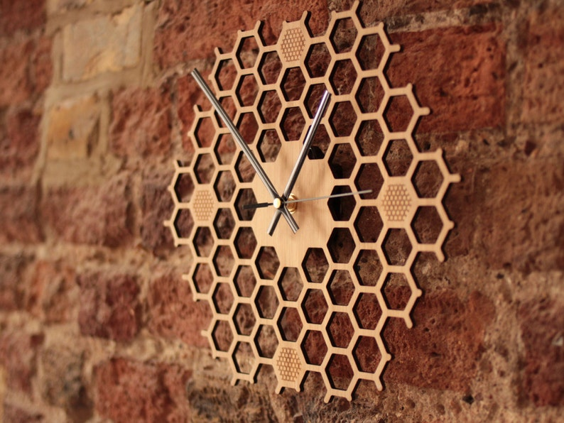 Honeycomb Inspired Wooden Wall Clock With Non Ticking Silent image 0