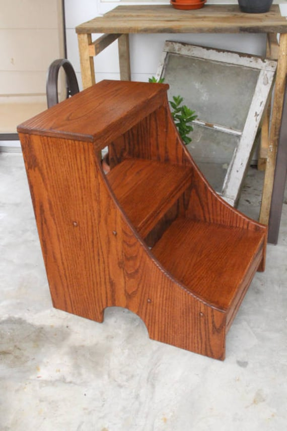 Wooden Step Stool Bedside: Wood Step Stool Red Oak Heavy Duty Wooden Step Stool Solid