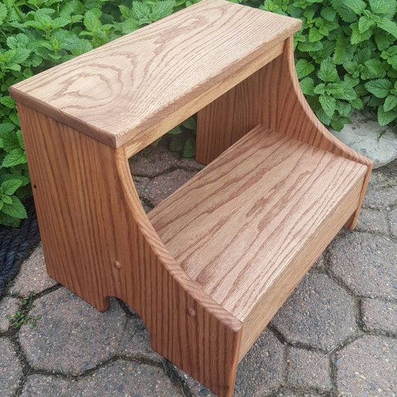 Excellent Heavy Duty Solid Wood Step Stool In Cherry Stain Ibusinesslaw Wood Chair Design Ideas Ibusinesslaworg